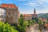 Cesky Krumlov, Krumau castle and tower, UNESCO World Heritage Site — Stock Photo