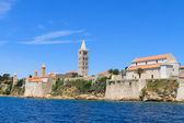 Croatian island of Rab, view on city and fortifications, Croatia — Stok fotoğraf