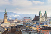 Linz, View on old city with churches, Austria — Stok fotoğraf