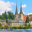 Stock Photo: Lucerne city view with river Reuss