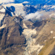 Stock Photo: Glacier at Grossglockner massif aerial view