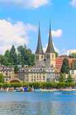 Lucerne city view with river Reuss — Foto de Stock