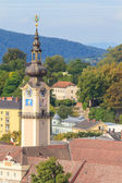 Linz Cityscape with Schlossmuseum and Tower of Upper Austrian La — Foto Stock
