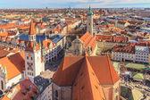 Munich Panorama with old city hall, Holy Spirit Church and Viktu — Stock Photo