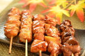 Char-broiled chicken called yakitori — Stock Photo