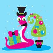Snake,gift,2013,new year,Christmas, tree — Stock Vector