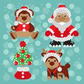 Santa,teddy ,deer, сhristmas, tree, сlaus, new year — Stock Vector