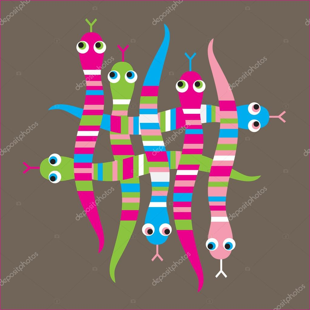 Snake, stripes, braided, coloured, striped, merry,2013 — Stock Vector #16951663