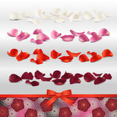 Red, purple, pink and white rose petals for wedding design — Stock Vector