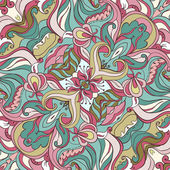 Spring Floral Vector Colorful Ornate Seamless Pattern — Stock Vector
