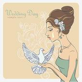 Vector Invite Card. Bride with dove — Stock Vector