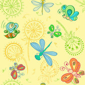 Vector nice pattern with Fun insects — Stock Vector
