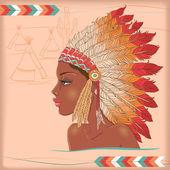 Vector native american indian chiefŒ — Vecteur