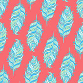 Vector Seamless pattern with decorative feather — Stock Vector