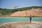Man Playing with his Rc Helicopter — Stock Photo