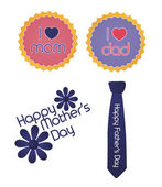 Set of mother/father's day signs — Stock Vector
