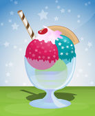 Ice cream sundae — Stock Vector