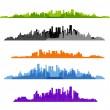Set of cityscape silhouette background — Stok Vektör