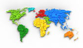 World map of rainbow colors, cube design — Stock Photo