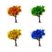 Dizi sezon ağaçlar, bahar, yaz, kış — Stok Vektör