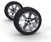 Car wheels on white background — Stock Photo