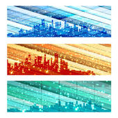 City Skylines, easy all editable — Stock Vector