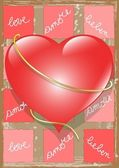 Heart and Love Text — Stockvector