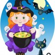 Witch with Potion — Stock Vector