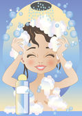 Woman in the Shower — Stock Vector