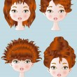 Red Hair Style — Stock Vector
