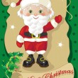 Santa Claus with Green Background — Stock vektor