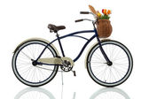 Beach cruiser med korg — Stockfoto