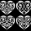 Set of Ornate Heart Shape — Stock Vector