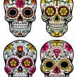Day Of The Dead Skull Vector Set — Stock Vector