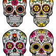 Day Of The Dead Skull Vector Set — Stockvektor