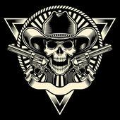Kovboy kafatası tabanca ile — Stok Vektör