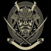 Samurai Warrior With Katana Sword — Stock Vector
