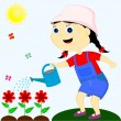 Girl watering flowers — Stock Vector #21374499