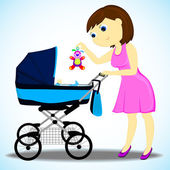 Woman with a carriage — Vector de stock