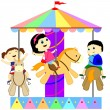 Stock Vector: Children on carousel