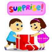 Children and surprise — Vector de stock