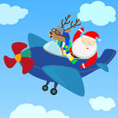 Santa and reindeer on the plane — Stock Vector