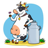 Cow with milk can — Stock Vector