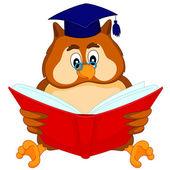 Owl reading a book — Stock Vector