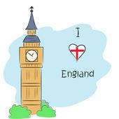I love England — Stock Vector