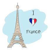 I love france — Stock Vector