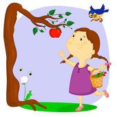The girl and the apple — Stock Vector