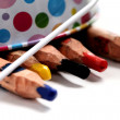 Colored pencils in a bucket - Stock Photo