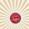 Vector red vintage banner on the sunburst background — Stock Vector