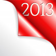 2013 new year with red curled corner — Imagen vectorial